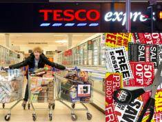 Jordon Cox, 16, on an 'Extreme Couponing' trip to Tesco where he picked up nearly £600 worth of food for free - and dontated it to disadvantaged families. See SWNS story SWCOUPON; A 16-year-old boy bought nearly £600 worth of groceries to help feed 40 families this Christmas for just FOUR PENCE ñ thanks to COUPONS. Britainís savviest shopper Jordon Cox scoured websites and gathered hundreds of free supermarket magazines in a generous bid to provide as much food as possible for disadvantaged families this Christmas. Super-saver Jordon, from Brentwood in Essex, spent just two weeks planning his ultimate Christmas gift ñ and filled three trolleys with groceries in a mammoth two-hour supermarket sweep. Everything was planned down to the tiniest detail, as Jordon picked out more than a thousand different items from the shelves of a North London supermarket, including 20 packs of frozen Yorkshire puddings and 20 jam roly polys.