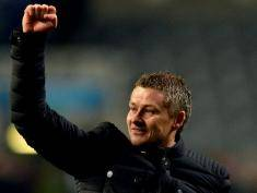 NEWCASTLE UPON TYNE ENGLAND, JANUARY 4: Cardiff City manager Ole Gunnar Solskjaer salutes the fans following their team's 2-1 victory the Budweiser FA Cup Third Round match between Newcastle United and Cardiff City at St James Park on January 4, 2014 in Newcastle Upon Tyne, England. (Photo by Mark Runnacles/Getty Images)