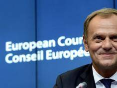 New European Union Council President, ex-Prime Minister of Poland, Donald Tusk smiles at the end of a Special European Summit held at the European Union Council building in Brussels on August 30, 2014. AFP PHOTO / THIERRY CHARLIER        (Photo credit should read THIERRY CHARLIER/AFP/Getty Images)