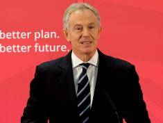 SEDGEFIELD, ENGLAND - APRIL 07:  Former Prime Minister and MP for Sedgefield Tony Blair gives a speech to waiting party members ahead of a visit to the construction site for the new Hitachi Trains Europe factory on April 7, 2015 in Sedgefield, England. The visit came as part of Labour's campaign build up ahead of the General Election on May 7 which is predicted to be Britain's closest national election.  (Photo by Ian Forsyth/Getty Images)