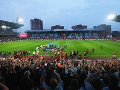 during the Barclays Premier League match between West Ham United and Manchester United at the Boleyn Ground on May 10, 2016 in London, England. West Ham United are playing their last ever home match at the Boleyn Ground after their 112 year stay at the stadium. The Hammers will move to the Olympic Stadium for the 2016-17 season.