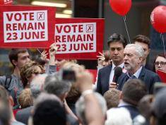 DONCASTER, ENGLAND - MAY 27:  Labour Leader Jeremy Corbyn and former leader Ed Miliband (L) address supporters and members of the public in Doncaster town centre on May 27, 2016 in Doncaster, England. The Labour In campaign battle bus arrived in Doncaster today with Labour leader Jeremy Corbyn and Ed Miliband MP to canvass for votes and hope to persuade UK citizens to stay in the European Union when they vote in the EU Referendum on the June 23.  (Photo by Christopher Furlong/Getty Images)