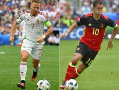 (COMBO) This combination of pictures created on June 23, 2016 shows Hungary's midfielder Balazs Dzsudzsak  in action during the Euro 2016 group F football match between Iceland and Hungary at the Stade Velodrome in Marseille on June 18, 2016 and Belgium's forward Eden Hazard in action during the Euro 2016 group E football match between Belgium and Ireland at the Matmut Atlantique stadium in Bordeaux on June 18, 2016.  Belgium will face Hungary in Toulouse on June 26, 2016 in the round of 16 of the Euro 2016 football tournament. / AFP / BORIS HORVAT AND LOIC VENANCE        (Photo credit should read BORIS HORVAT,LOIC VENANCE/AFP/Getty Images)