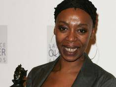 LONDON - FEBRUARY 26:  Noma Dumezweni poses in the Awards Room with the award for Best Performance in a Supporting Role for A Raisin in the Sun at the Laurence Olivier Awards at the London Hilton on February 26, 2006 in London, England. The prestigious annual ceremony honors those involved with the world of the stage.  (Photo by Gareth Cattermole/Getty Images)