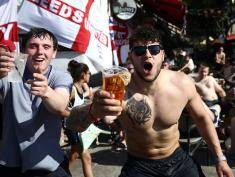 MARSEILLE, FRANCE - JUNE 09:  England fans chant  as they drink in a bar ahead of the England v Russia game, which will take place on Saturday, on June 9, 2016 in Marseille, France. Football fans from around Europe have descended on France for the UEFA Euro 2016 football tournament.  (Photo by Carl Court/Getty Images)