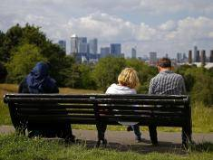 "The Canary Wharf finance district of London, encompasing the offices of HSBC, Citigroup, JPMorgan Chase, Barclays, and other global banking corporations, is pitcured from Greenwich park in south-east London on June 26, 2016.  British business minister Sajid Javid on Sunday urged companies not to panic following Britain's vote to leave the European Union (EU) despite dire warnings of the economic consequences of the Brexit vote. ""Our economic fundamentals remain strong. They're strong enough to weather any short-term market volatility,"" he said, after Thursday's vote plunged global financial markets and the value of the pound. / AFP / ODD ANDERSEN        (Photo credit should read ODD ANDERSEN/AFP/Getty Images)"