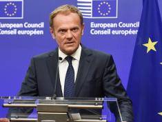 EU Council President Donald Tusk gives a statement on Brexit at the EU Headquarters in Brussels on June 24, 2016.  Britain has voted to break out of the European Union, striking a thunderous blow against the bloc and spreading panic through world markets on June 24 as sterling collapsed to a 31-year low. / AFP / JOHN THYS        (Photo credit should read JOHN THYS/AFP/Getty Images)