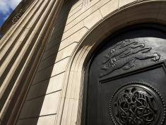 A general view shows a door at the Bank of England (BOE) in the City of London. The Bank of England kept Thursday its interest rate at 0.50 percent, but signalled a possible August cut in response to Britain's vote to exit the EU. At its first monetary policy meeting since the June 23 referendum vote on Brexit, the BoE also maintained the amount of cash stimulus pumping around the economy at £375 billion ($497 billion, 448 billion euros), it said in a statement.  / AFP / NIKLAS HALLE'N        (Photo credit should read NIKLAS HALLE'N/AFP/Getty Images)