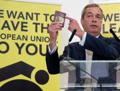 BRISTOL, ENGLAND - JUNE 04:  UKIP leader Nigel Farage holds up his British passport as he speaks at a Grassroots Out! campaign rally at the Mercure Bristol Grand Hotel on June 4, 2016 in Bristol, England. Campaigning continues by both the Brexit and Remain groups this weekend ahead of the EU referendum on June 23rd.  (Photo by Matt Cardy/Getty Images)
