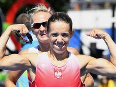 Poland's Magdalena Fularczyk-Kozlowska (R) and Poland's Natalia Madaj celebrate after the Women's Double Sculls final rowing competition at the Lagoa stadium, during the Rio 2016 Olympic Games in Rio de Janeiro on August 11, 2016. / AFP / Damien MEYER        (Photo credit should read DAMIEN MEYER/AFP/Getty Images)