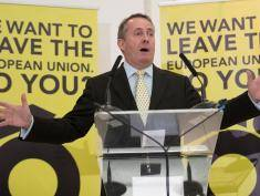 BRISTOL, ENGLAND - JUNE 04:  Former Defence Secretary Liam Fox speaks at a Grassroots Out! campaign rally at the Mercure Bristol Grand Hotel on June 4, 2016 in Bristol, England. Campaigning continues by both the Brexit and Remain groups this weekend ahead of the EU referendum on June 23rd.  (Photo by Matt Cardy/Getty Images)