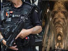 LONDON, ENGLAND - AUGUST 04:  An armed police officer stands outside Horse Guards on Whitehall on August 4, 2016 in London, England. Six people were attacked by a 19 year old man with a knife at 10.30pm in Russell Square, London last night. A woman died of her injuries. The suspect was arrested at the scene and is being held at a London Hospital. Police say mental health issues are a significant factor but aren't ruling out terrorism. (Photo by Jack Taylor/Getty Images)