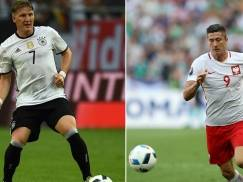 A combination of two file pictures show Germany's midfielder and captain Bastian Schweinsteiger (L) in Gelsenkirchen on June 4, 2016 and Poland's forward and captain Robert Lewandowski in Nice on June 12, 2016.  Germany will face Poland in their Euro 2016 Group C football match in Paris on June 16 , 2016. / AFP / Patrik STOLLARZ AND Valery HACHE        (Photo credit should read PATRIK STOLLARZ,VALERY HACHE/AFP/Getty Images)