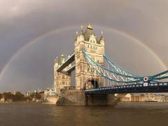 LONDON, ENGLAND - NOVEMBER 10:  (EDITORS NOTE: Image was created with an iphone) A view of a rainbow behind Tower Bridge on November 10, 2014 in London, England.  (Photo by Paul Gilham/Getty Images)